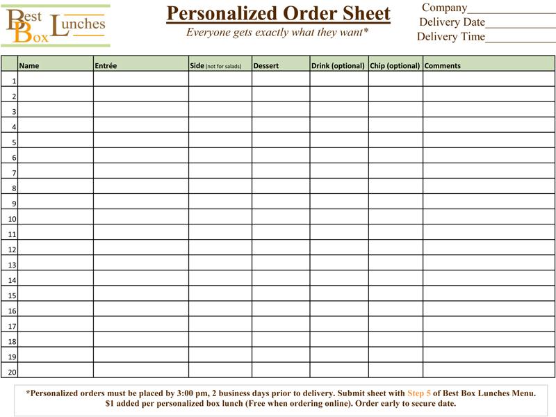 Box Lunch Menu
